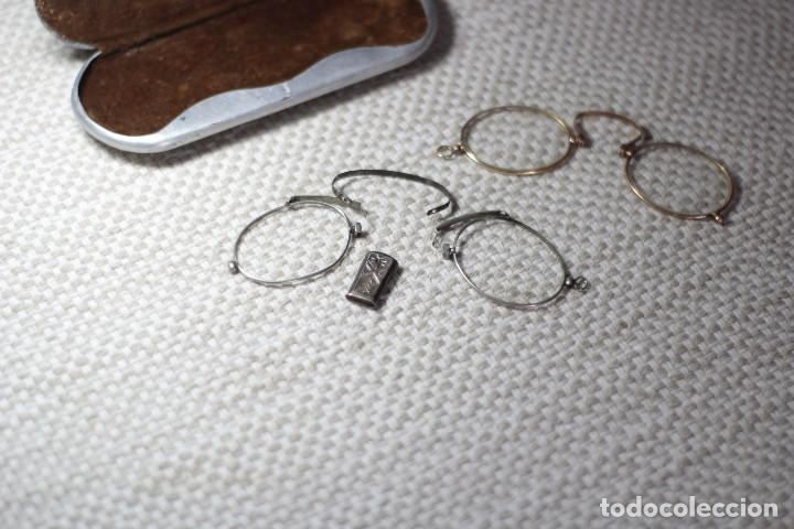 ANTIGUO LENTES ORO 18K (Antigüedades - Técnicas - Instrumentos Ópticos - Gafas Antiguas)