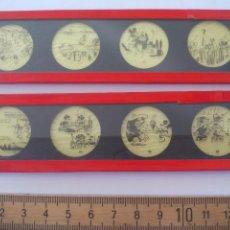 Antigüedades: ANTIGUOS CRISTALES DE LINTERNA MÁGICA. DE LOS AÑOS 30. MICKEY MOUSE IN THE CACTUS KID WALT DISNEY . Lote 122908095