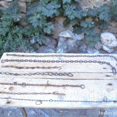 Antigüedades: LOTE 7 CADENAS Y ANILLAS DE FORJA ANTIGUAS. Lote 122688219