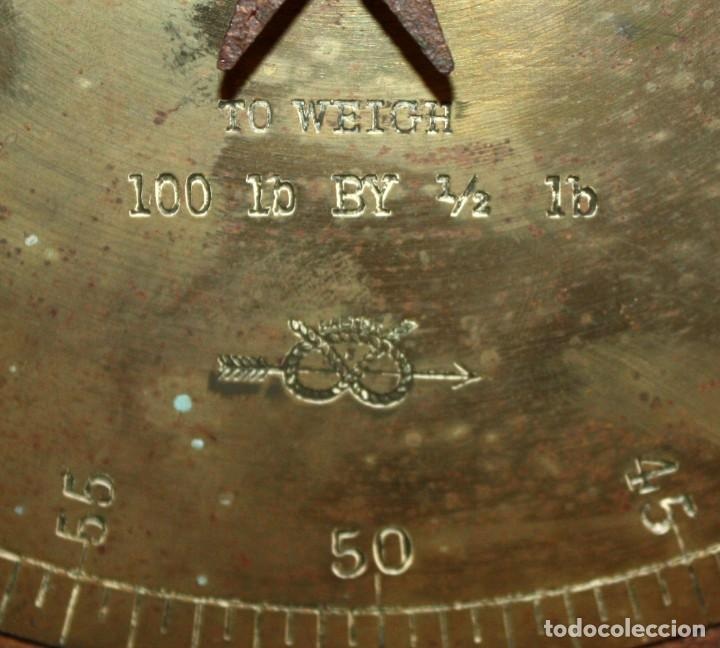Antigüedades: ANTIGUA BASCULA O BALANZA INGLESA EN HIERRO DE LA MARCA SALTER (MODELO T.50) - Foto 9 - 123127139