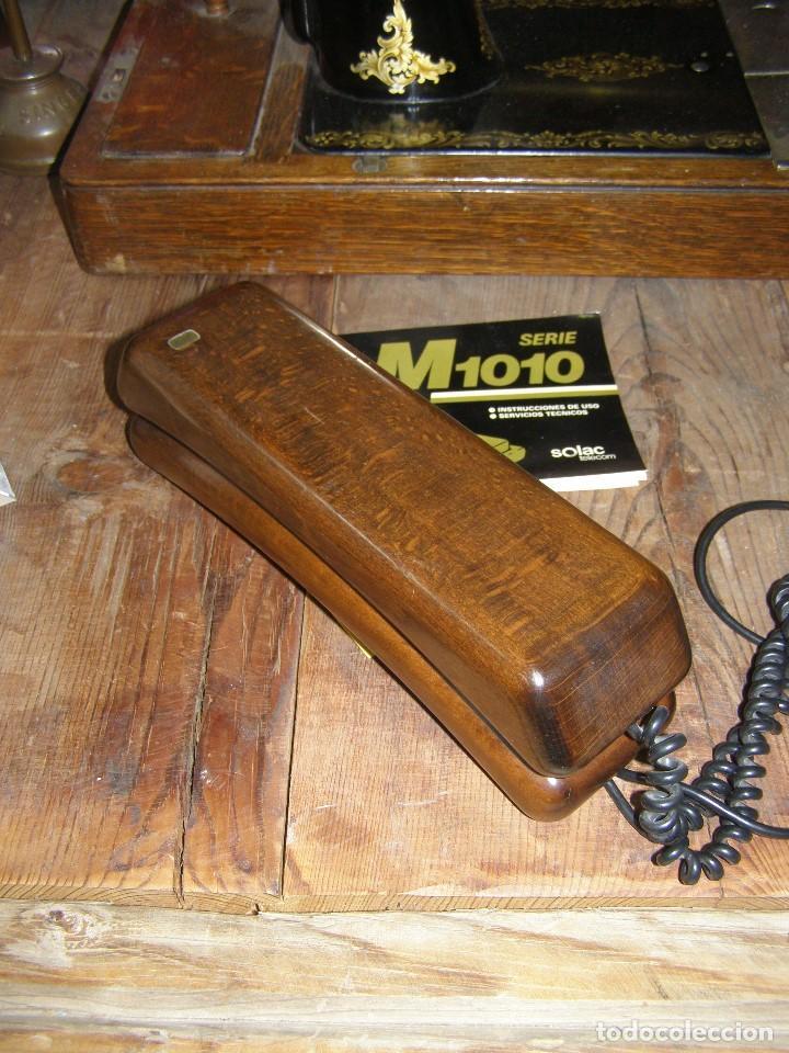 Teléfonos: Antiguo Teléfono Solac M1010. En madera. Años 70s - Foto 2 - 124222403