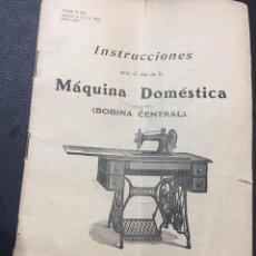 Antigüedades: MANUAL DE INSTRUCCIONES PARA EL USO DE LA MAQUINA DE COSER DOMESTICA BOBINA CENTRAL SINGER 1906. Lote 124225903