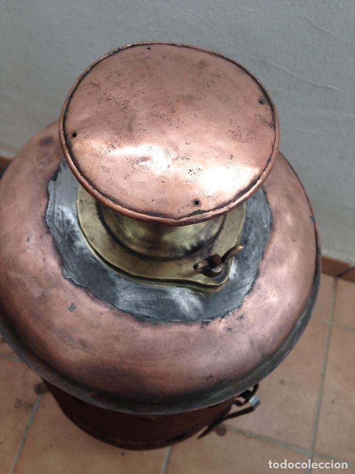 Antigüedades: antigua estufa hierro con calderin en cobre y bronce Baño de vapor, agua caliente s. XIX - Foto 2 - 124516979