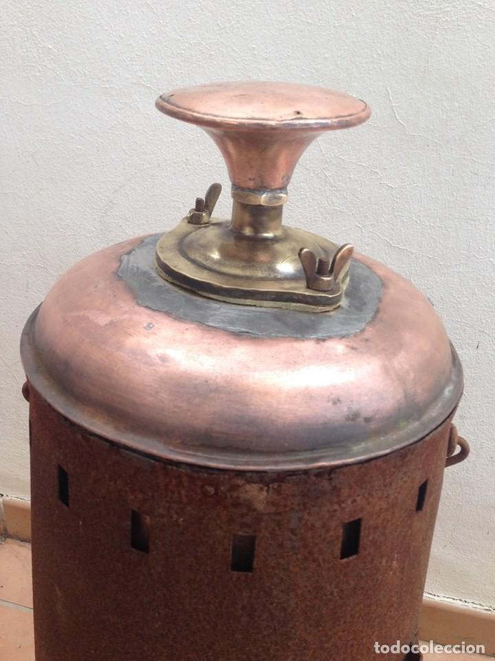 Antigüedades: antigua estufa hierro con calderin en cobre y bronce Baño de vapor, agua caliente s. XIX - Foto 3 - 124516979