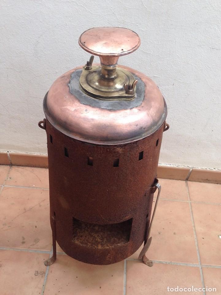 Antigüedades: antigua estufa hierro con calderin en cobre y bronce Baño de vapor, agua caliente s. XIX - Foto 5 - 124516979