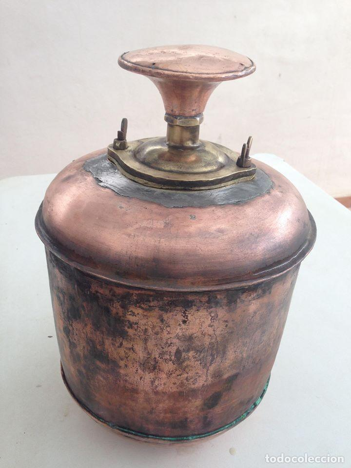 Antigüedades: antigua estufa hierro con calderin en cobre y bronce Baño de vapor, agua caliente s. XIX - Foto 6 - 124516979