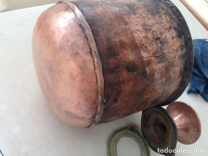 Antigüedades: antigua estufa hierro con calderin en cobre y bronce Baño de vapor, agua caliente s. XIX - Foto 7 - 124516979