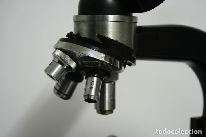 Antigüedades: Microscopio Meopta. Doble visor, binocular y cuatro opticas. - Foto 2 - 124635563
