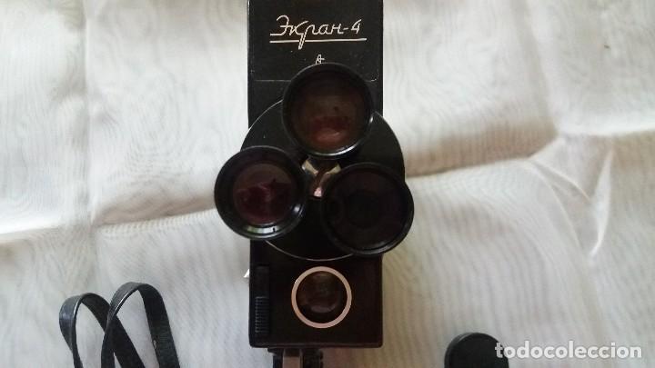 Antigüedades: CÁMARA DE CINE FABRICADA EN LA URSS, RUSA 8 mm - ZENIT EKRAN 4 CON 3 OBJETIVOS. - Foto 4 - 125204883