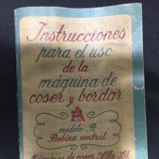 Antigüedades: LIBRITO DE INSTRUCCIONES ALFA. Lote 125274474