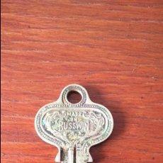 Antigüedades: ANTIGUA Y RARA LLAVE DE CERRADURA MADE IN RUSSWIN . Lote 125646343