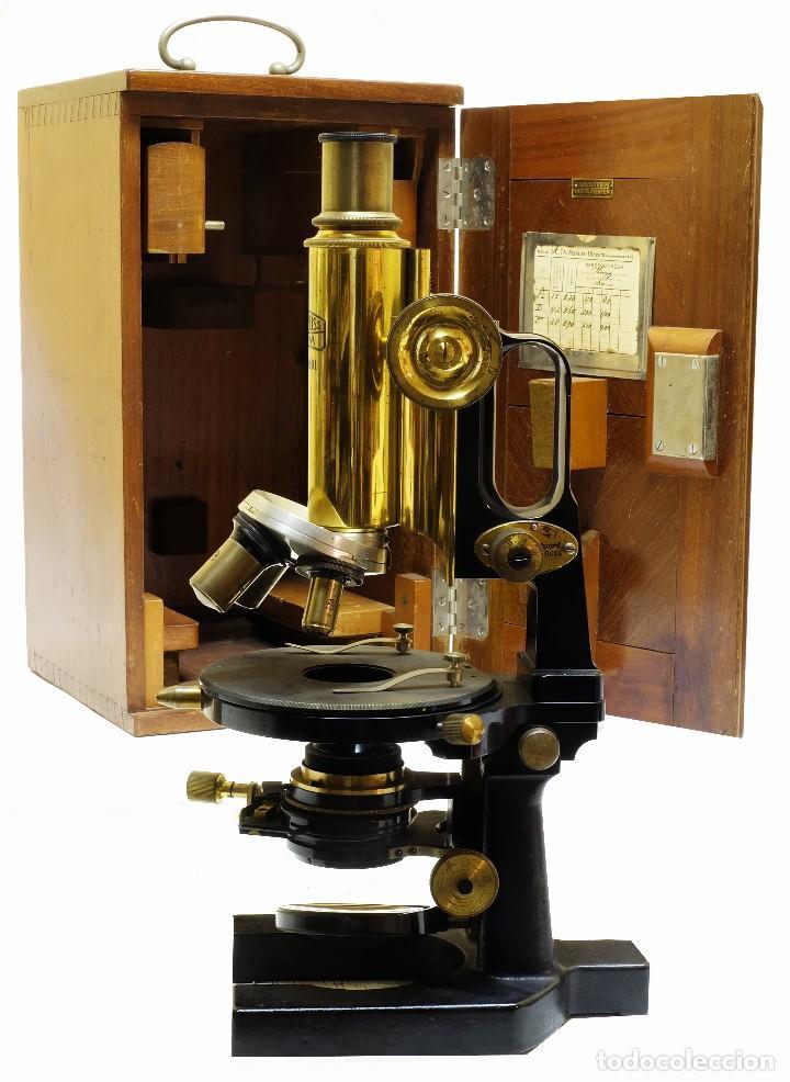1890 - IMPRESIONANTE MICROSCOPIO DE CARL ZEISS - COMPLETO CON CONDENSADOR Y DIAFRAGMA (Antigüedades - Técnicas - Instrumentos Ópticos - Microscopios Antiguos)
