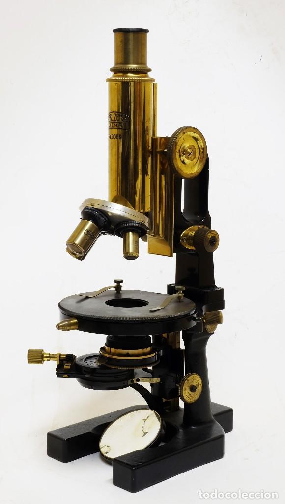 Antigüedades: 1890 - Impresionante microscopio de Carl Zeiss - Completo con condensador y diafragma - Foto 2 - 126006787