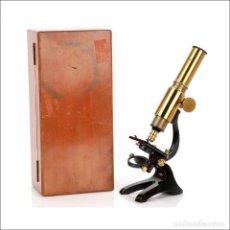 Antigüedades: ANTIGUO MICROSCOPIO DE ESTUDIANTE. CIRCA 1900. Lote 126192283