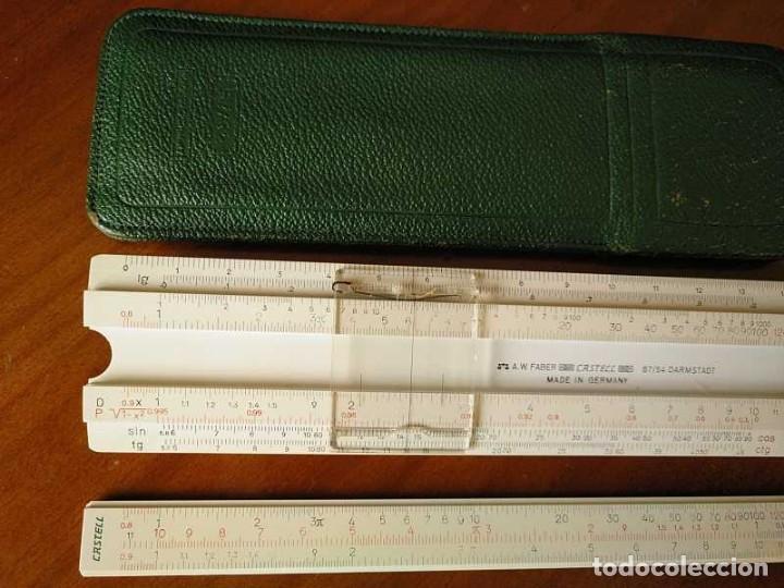 Antigüedades: REGLA DE CALCULO FABER CASTELL 67/54 DARMSTADT CON FUNDA - CALCULADORA SLIDE RULE RECHENSCHIEBER - Foto 6 - 126563371