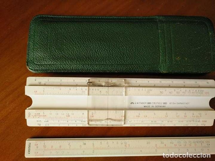 Antigüedades: REGLA DE CALCULO FABER CASTELL 67/54 DARMSTADT CON FUNDA - CALCULADORA SLIDE RULE RECHENSCHIEBER - Foto 43 - 126563371