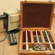 Antigüedades: LOTE PROYECTOR TRADICIONAL OPTOTIPOS NIKON Y MALETÍN LENTES E INSTRUMENTOS GRADUACIÓN OPTICA. Lote 126615731
