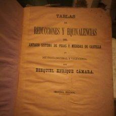 Antigüedades: TABLAS DE REDUCCIÓN Y EQUIVALENCIAS DEL DEL ANTIGUO SISTEMA DE PESAS Y MEDIDAS DE CASTILLA 1886.. Lote 126679712