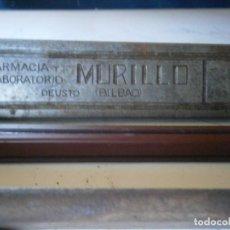 Antigüedades: ¡¡PRECIOSA ¡¡ ANTIGUA PLANCHA DE IMPRENTA AÑOS 20-30 BILBAO,FARMACIA MURILLO. Lote 126975411