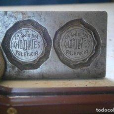 Antigüedades: ¡¡PRECIOSA ¡¡ ANTIGUA PLANCHA DE IMPRENTA AÑOS 20-30 ,PALENCIA -LA ANTOLINA CHOCOLATES. Lote 126981027