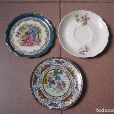 Antigüedades: LOTE DE 3 PLATOS PEQUEÑOS. Lote 127227907