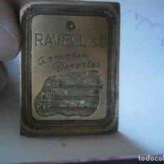 Antigüedades: ¡¡MOLDE DE IMPRENTA UNICO AÑOS 20,30',DE PUBLICIDAD¡¡RAVELL.S.L.ARMERIA.DE PORTES,UNICO,TC,. Lote 127259351