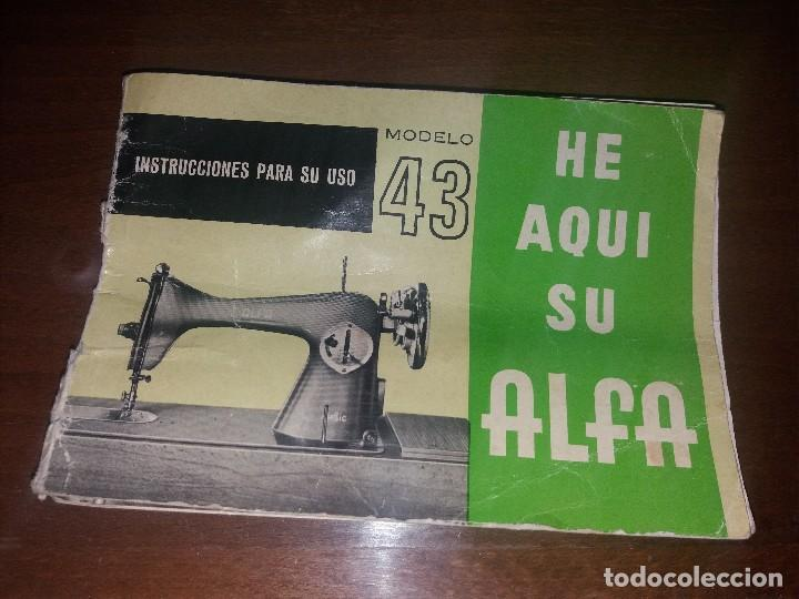 ANTIGUO LIBRO INSTRUCCIONES PARA MÁQUINA DE COSER ALFA (Antigüedades - Técnicas - Máquinas de Coser Antiguas - Alfa)