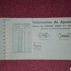 Oggetti Antichi: REGLILLA CALCULADORA N°7 TOLERANCIAS DE AJUSTE ISA EDITORIAL VAGMA SISTEMA DE AGUJERO UNICO H 7. Lote 127586307