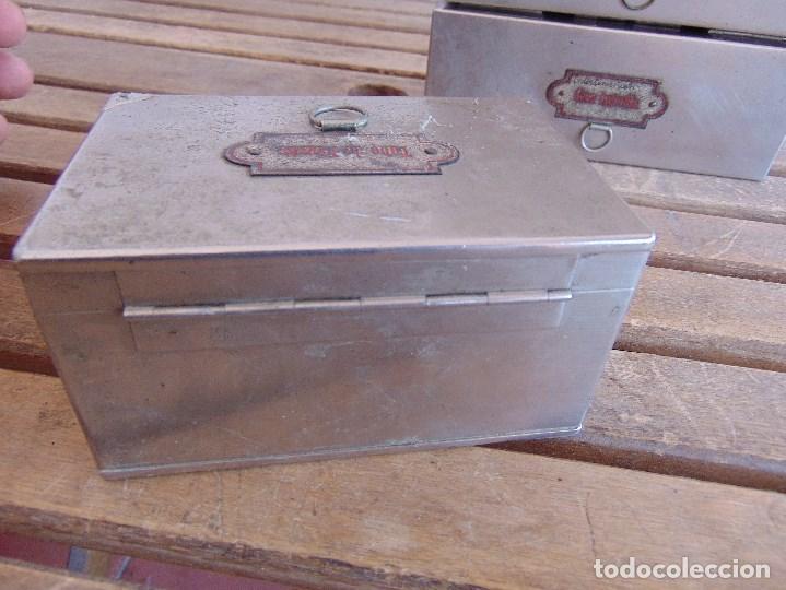 Antigüedades: LOTE DE 7 ANTIGUAS CAJAS EN METAL DE MEDICO DENTISTA O SIMILAR , MARCADAS DIFERENTES MEDIDAS - Foto 15 - 127749299