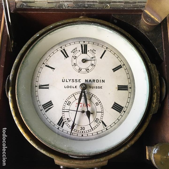 Antigüedades: Reloj nautico o cronometro marino marca ULYSSE NARDIN - Foto 2 - 127953623