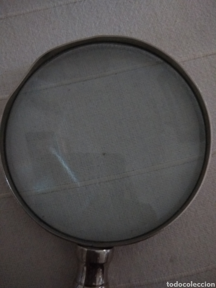 Antigüedades: Lupa de gran tamaño mango metálico con concha - Foto 3 - 128037348