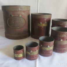 Antigüedades: JUEGO DE MEDIDAS DE ARIDOS ANTERIORES A 1924. Lote 128118259