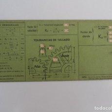 Antigüedades: REGLA CALCULO ENGRANAJES Y TOLERANCIAS DE TALLADO VAGMA. Lote 128118807