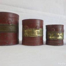 Antigüedades: MEDIDAS DE ARIDOS DOBLE DECILITRO, DECILITRO Y MEDIO DECILITRO 1930. Lote 128146227