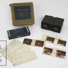 Antigüedades: ANTIGUO VISOR ESTEREOSCÓPICO FRANCÉS CON 10 VISTAS VIDRIO - SANTUARIO DE LOURDES -PPIOS S XX - #CCB. Lote 128213243