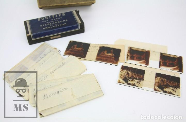 Antigüedades: Antiguo Visor Estereoscópico Francés con 10 Vistas Vidrio - Santuario de Lourdes -Ppios S XX - #CCB - Foto 8 - 128213243