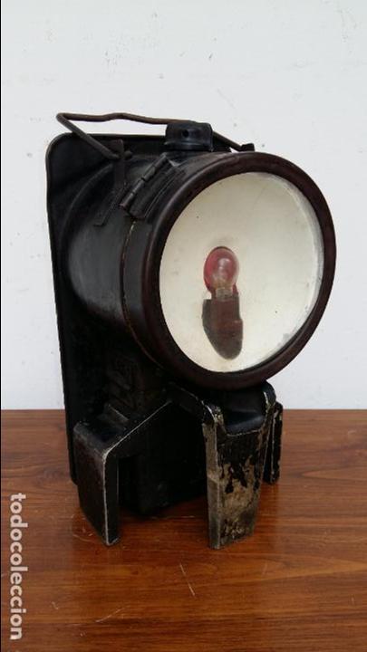Antigüedades: FAROL DE FERROVIARIO, TREN. GRANDE, MUY RARO. - Foto 3 - 129119035