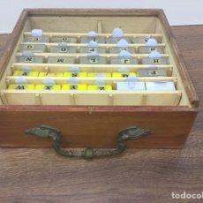 Antigüedades: CAJA O CAJÓN CON LETRAS Y NÚMEROS DE IMPRENTA ( GOMA ) INTENCAMBIABLES. Lote 129249147
