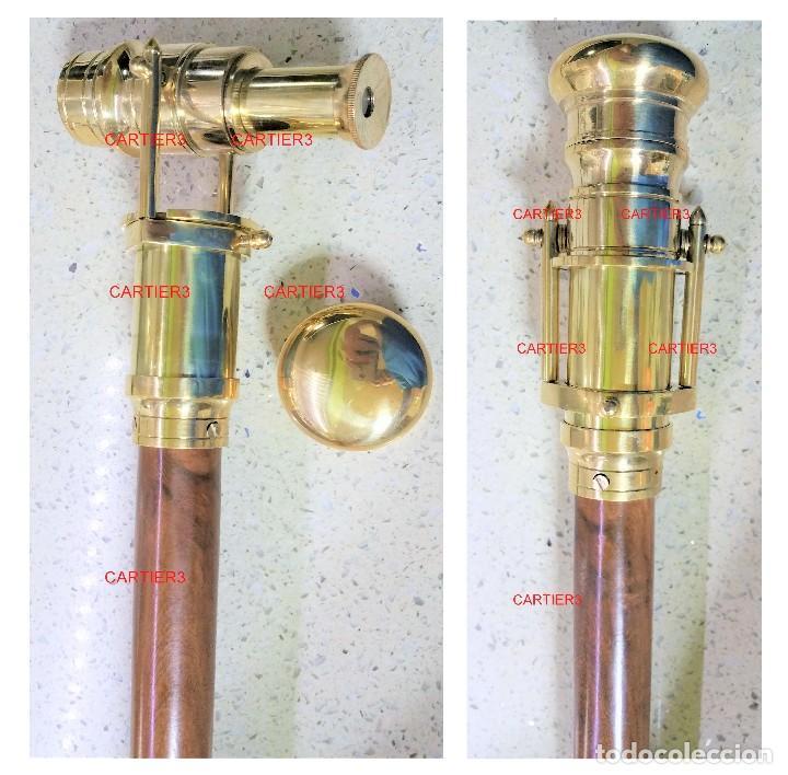 MONOCULAR TELESCÓPICO DE LATÓN Y CRISTAL CON BASTÓN ¡¡¡BAJADA DE PRECIO 50% !!!! (Antigüedades - Técnicas - Instrumentos Ópticos - Binoculares Antiguos)