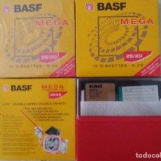 Antigüedades: LOTE DE DISKETTES 5 1/4 2S/2D BASF PRECINTADAS Y 3 PORTADORES. Lote 129336171