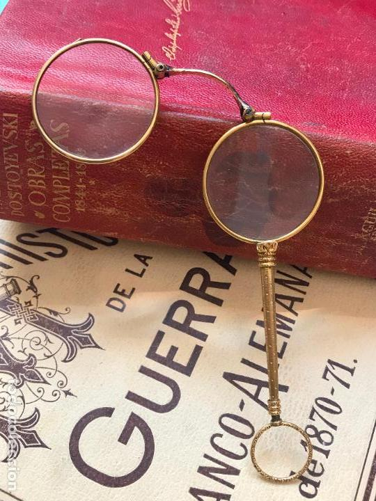 Antigüedades: Gafas lupa con mecanismo o impertinentes de teatro en oro - siglo XIX - Marcadas - Ver fotos - Foto 7 - 130066939