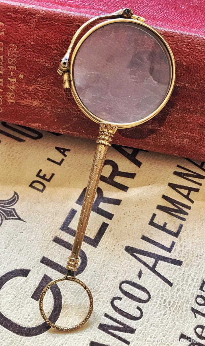 Antigüedades: Gafas lupa con mecanismo o impertinentes de teatro en oro - siglo XIX - Marcadas - Ver fotos - Foto 12 - 130066939