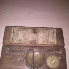 Antigüedades: ESTUCHE PESA MONEDAS S. XIX CON TABLA DE MONEDAS ORO Y PLATA EN CURSO DIFERENTES ESTADOS DE EUROPA. Lote 130287886