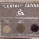 Antigüedades: MUESTRARIO LENTES LUXTAL CARLOS CUYAS AÑOS 30 PRE GUERRA CIVIL PRECIOSO Y CASI NUEVO. Lote 130792812