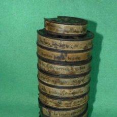 Antigüedades: LOTE 10 PELÍCULAS PATHE BABY BOBINAS 9,5 MM METALICAS DIFERENTES PELICULAS ANTIGUAS AÑOS 20. Lote 131125236