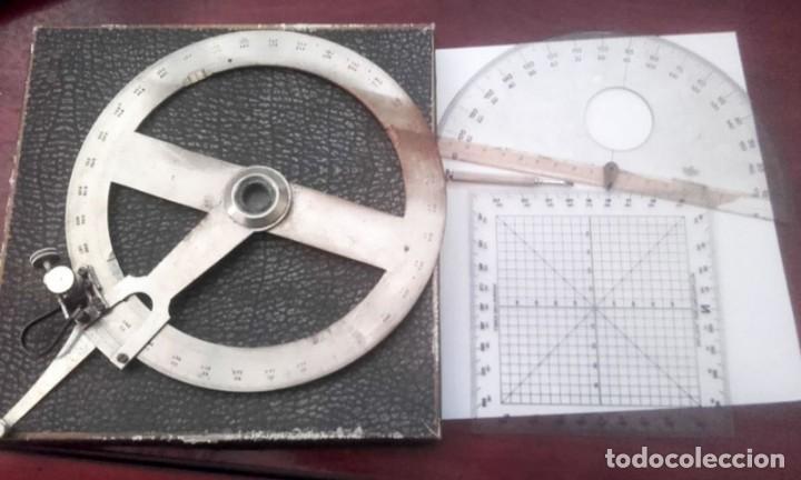 ANTIGUO MEDIDOR DE ANGULOS 360 GRADOS. DE ACERO (Antigüedades - Técnicas - Aparatos de Cálculo - Reglas de Cálculo Antiguas)