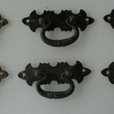 Antigüedades: LOTE DE 6 TIRADORES ANTIGUOS TIRADORES DE FORJA HIERRO FORJADO – RESTAURACION DE MUEBLES RUSTICOS . Lote 131739118