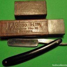 Antigüedades: MANN FEDERLEIN MANNOS 100 PEQUEÑA, CAJA ORIGINAL NAVAJA AFEITAR, BARBERO. STRAIGHT RAZOR, RASOIO. Lote 131757910