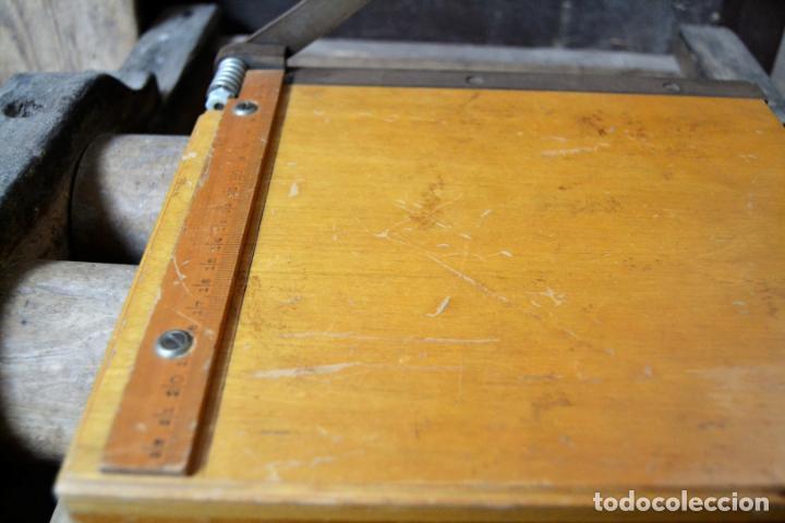 Antigüedades: ANTIGUA GUILLOTINA DE PAPEL EN MADERA Y HIERRO CORTA PERFECTAMENTE * FIRMA DRYAD LEICESTER - Foto 5 - 132101174
