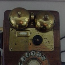 Teléfonos: ANTIGUO TELÉFONO MADERA PARED 1920-1930. Lote 132507382